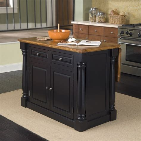 48 kitchen island shop home styles 48 in l x 25 in w x 36 in h black midcentury kitchen island at lowes