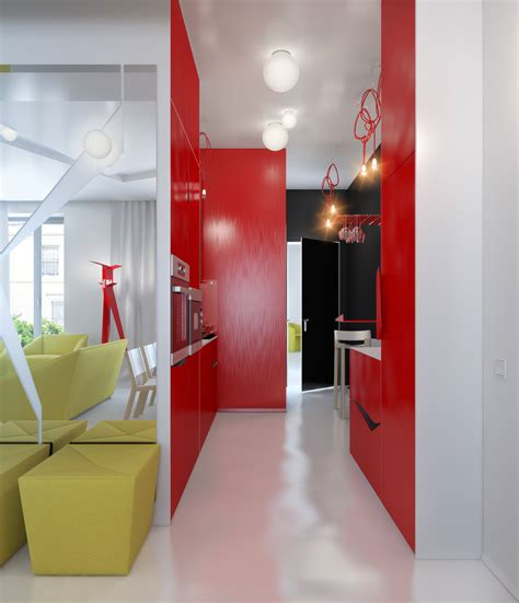 red white apartment small apartment zinging with color