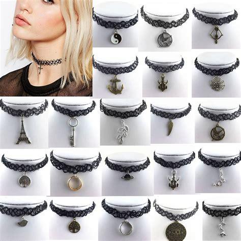 Www Handmade Au - black choker necklace pendant retro elastic stretch