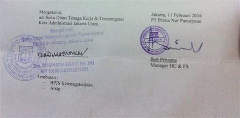 contoh surat berhenti kerja ditujukan ke dinas tenaga