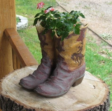 Western Cowboy Boot Flower Pot Planter Country Plant Boot Planter