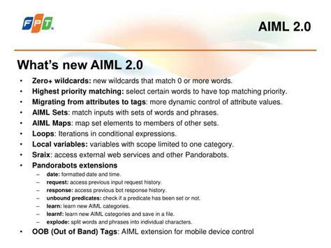 pattern aiml ppt aiml 2 0 artificial intelligence markup language