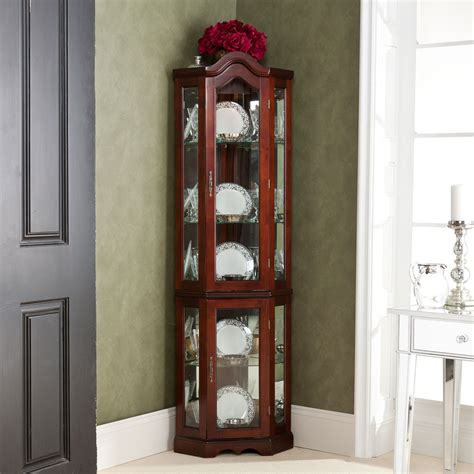 lighted corner curio cabinet mahogany lighted corner curio cabinet southern enterprises