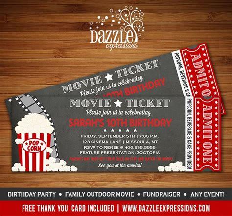 printable chalkboard movie ticket birthday invitation