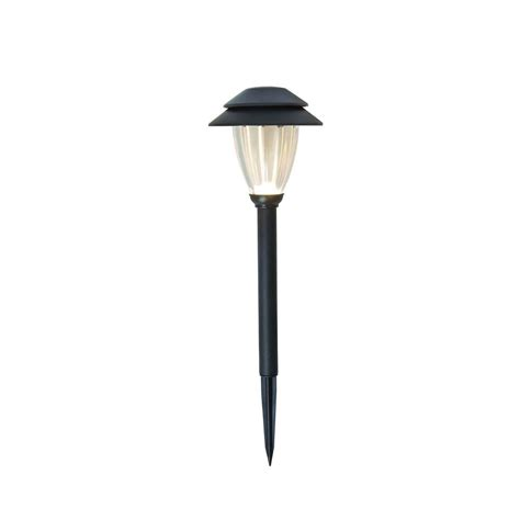 lv outdoor lighting hton bay low voltage led black pathway light set with