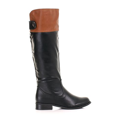 womens two tone black cuff knee high