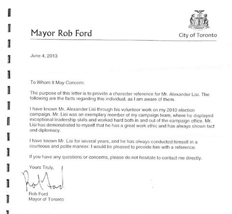Copy Of Character Reference Letter For Court It Really Is About The Company Rob Ford Keeps Dimanno Toronto