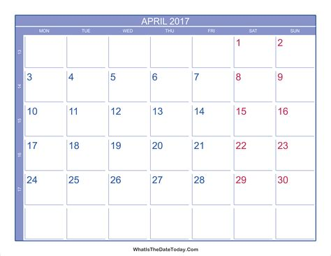 Calendar By Week Number 2017 2017 April Calendar With Week Numbers Whatisthedatetoday