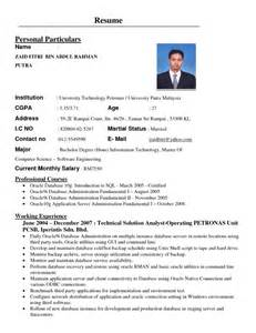 Best Resume In Malaysia by Contoh Resume Terbaik Bahasa Melayu Samples Of Resumes