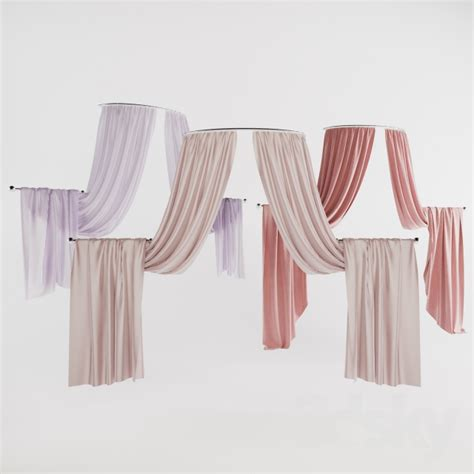 half circle curtain 3d models curtain half round curtains 01