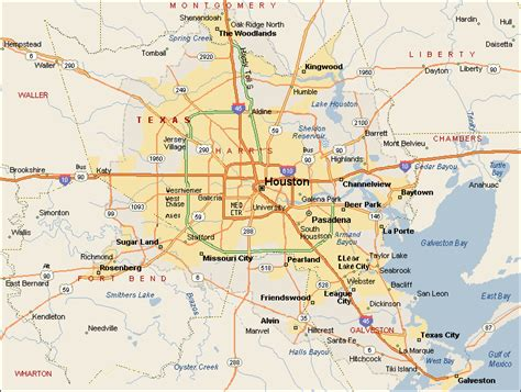 houston texas road map greater houston map
