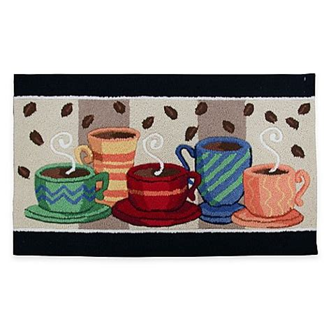 coffee kitchen rug nourison coffee 33 inch x 20 inch kitchen rug in black bed bath beyond