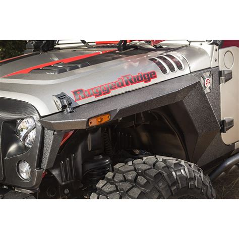 jeep fenders rugged ridge 11615 01 xhd front armor fenders pair 07 17