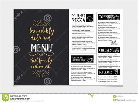 menu poster template restaurant cafe menu template design stock vector
