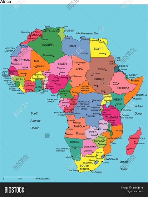 map of africa with country name africa with editable countries and names stock vector