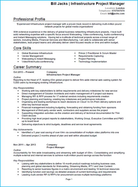cv template word project manager project manager cv exle cv template and writing guide