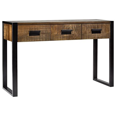wood and metal console table atelier industrial chic wood console table with metal