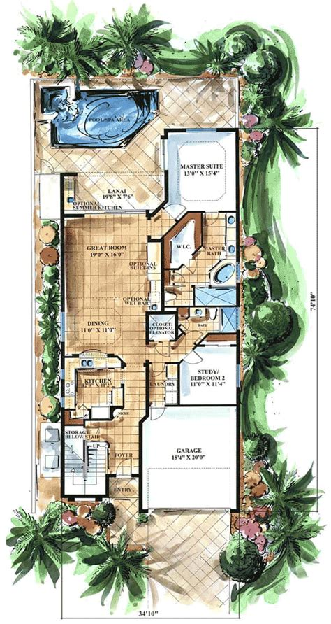 key west style 66066gw 1st floor master suite cad