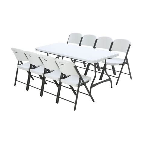 White Folding Table And Chairs Lifetime 6 Ft White Granite Stacking Table And Chair Combo 8 Pack 80408 The Home Depot