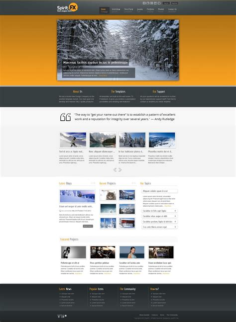 business portfolio template spiritfx business and portfolio template by joomfx