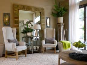 mirror in living room neutral living room with oversized wood framed mirror hgtv