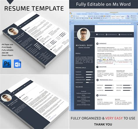 Professional Resume Word Template by 20 Professional Ms Word Resume Templates With Simple Designs