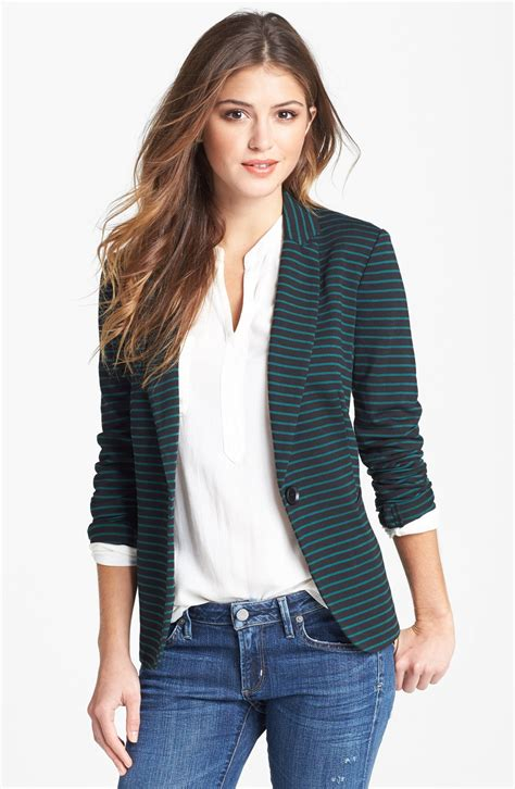 Moon Knit Blazer In Black Black Green Bug Stripe