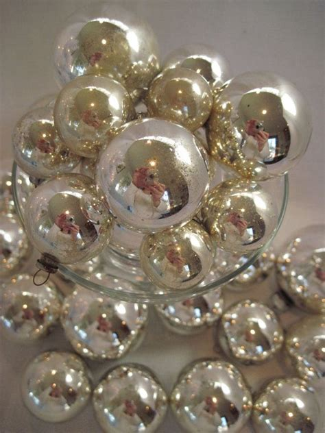 silver mercury glass christmas holiday tree ornaments 30