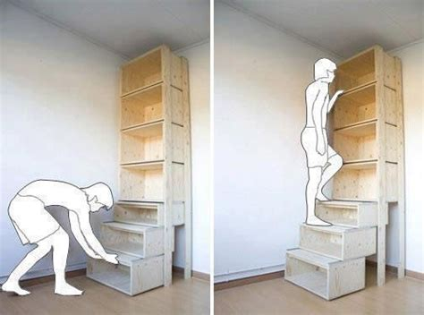bookshelf with pull out stairs decor ideas