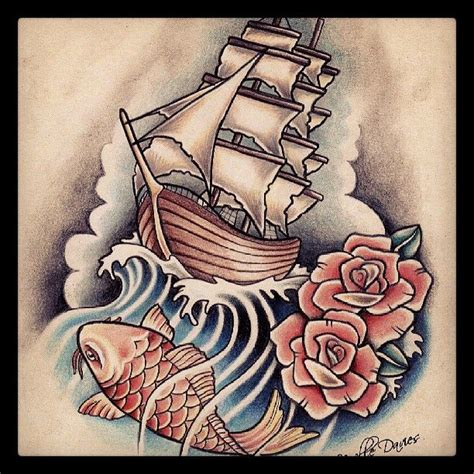 koi fish rose tattoo pirate ship koi and rose tattoo flash tattoos