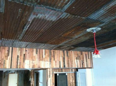 corrugated metal  ceiling  coat shop