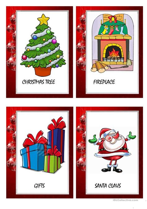 printable christmas flashcards christmas flashcards worksheet free esl printable