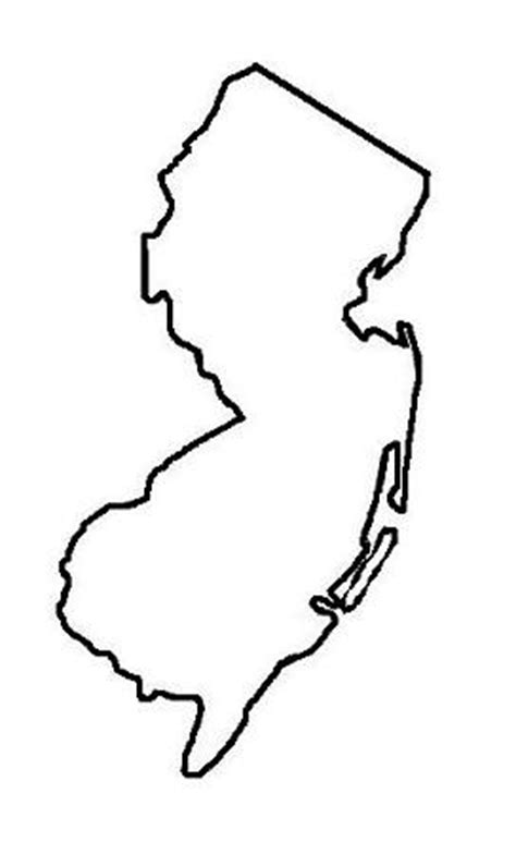 New Jersey State Map Outline by Map Of United States