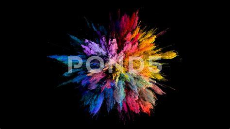color powder explosion cg animation of color powder explosion on black background