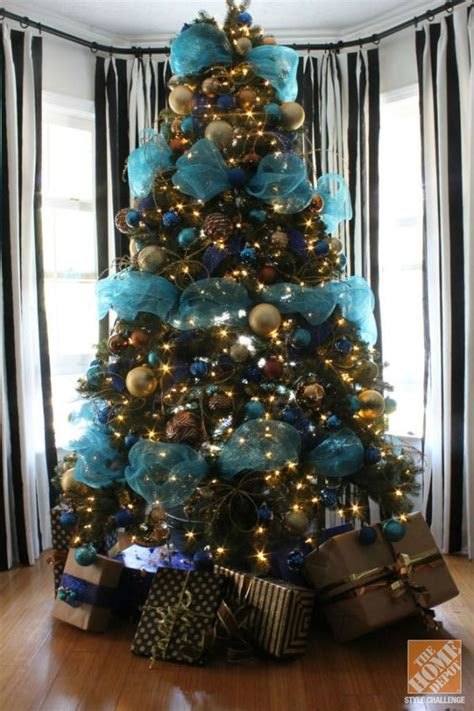 decorating a christmas tree with mesh netting tree decorating ideas turquoise blue bronze trees turquoise and
