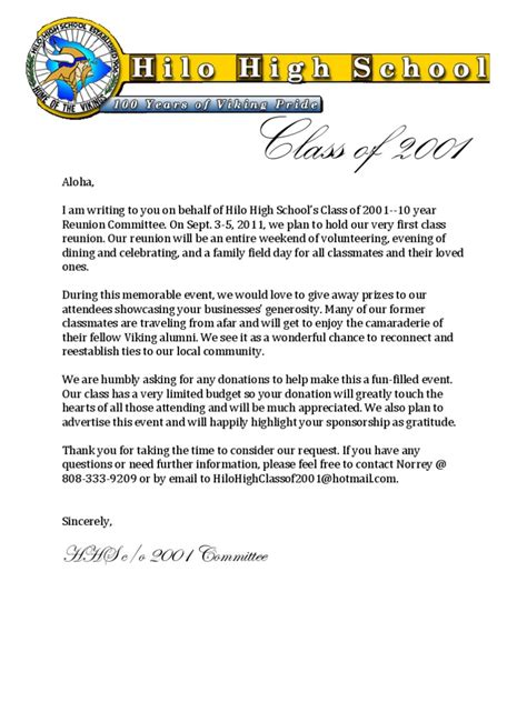 Sponsorship Letter For High School Hhs C O 2001 Reunion Donation Letter
