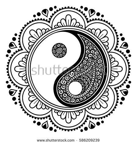 vector henna tatoo mandala yinyang decorative stock vector