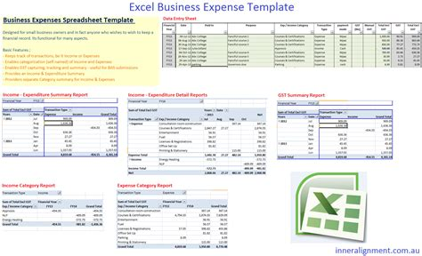 Excel Free Business Expense Template Inner Alignment Perth Excel Business Expense Template