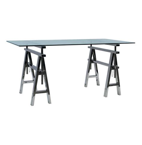 Adjustable Height Work Desk by Enzo Industrial Style Adjustable Height Stainless Steel Work Desk Kathy Kuo Home