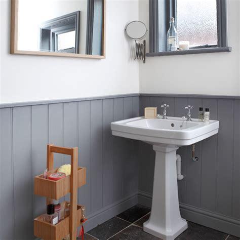 grey  white panelled bathroom bathroom decorating