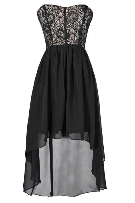 black lace and chiffon high low dress