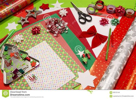 Craft Items With Paper - arts and craft supplies for stock photo image