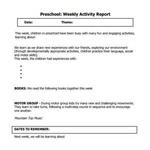 sample weekly activity report 8 documents in word pdf