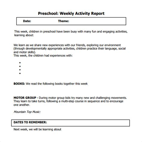 preschool weekly report template sle weekly activity report 15 documents in word pdf