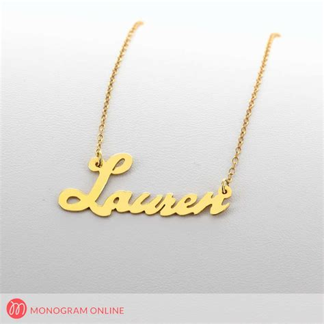 yellow gold silver personalized script name necklace