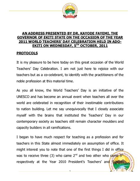 Sle Text Speech On Teachers Day governor fayemi s speech at the 2011 world teachers day