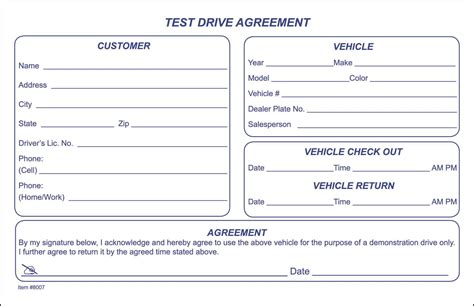 Test Drive Agreement Form Drive Form Templates