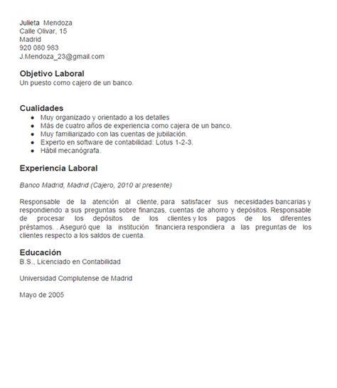Modelo Curriculum Objetivos Laborales Ejemplo Curr 237 Culum Cajero Curr 237 Culums De Gesti 243 N Financiera Y Contabilidad