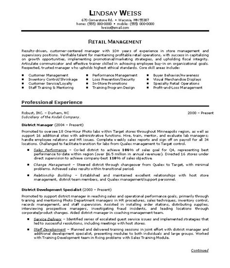 district manager resume exles district manager resume sle jennywashere