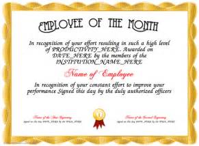 Free Employee Of The Month Certificate Template by Employee Of The Month